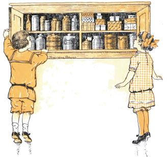 1912 Boy and Girl at Cupboard